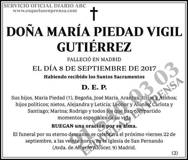 María Piedad Vigil Gutiérrez